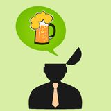 Icon man thinks about beer on Friday Stock Photography