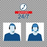 Icon of a man and a woman with a headset from the Technical Support. Men and women avatar for call center. Royalty Free Stock Image