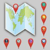 Icon of map and set of different pointers. Stock Image