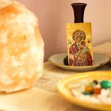 Icon of Mary and Jesus on table royalty free stock images