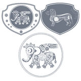 Icon mechanical elephant. Two icons of an elephant and a dachshund royalty free illustration