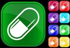Icon of medical capsule. On shiny buttons Stock Photography