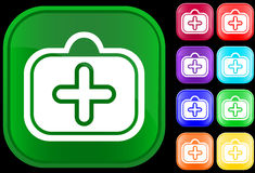 Icon of medical case. On shiny buttons Vector Illustration