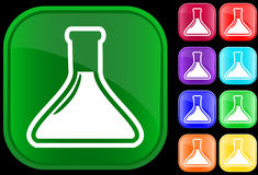 Icon of medical vial. On shiny buttons Stock Photo