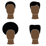 Icon men black. Icons of black men with black hair Stock Images