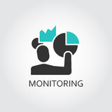 Icon of men and chart, diagram monitoring concept. Vector illustration. Black and green shape pictograph for websites, mobile apps and other design needs Royalty Free Stock Photo