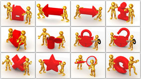 Icon. Men with signs Stock Images