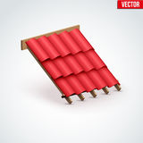 Icon Metal Cover on Roof. Icon demonstration red ceramic tiles cover on the roof.  Vector Illustration  on white background Stock Image