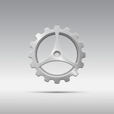 Icon metal gear with cogs and three spokes Stock Image