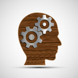Icon metal gears in human head. Symbol of the mind. Head from a. Wooden planks. Stock  illustration Stock Image