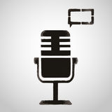 Icon microphone and speech bubble. Graffiti style Stock Images
