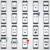 Icon mobile smartphone collection iphon style. Icon set mobile smartphone collection iphon style mockups with smiling faces isolated. Vector illustration Royalty Free Stock Photography