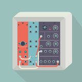 Icon modular synthesizer with wires Royalty Free Stock Images