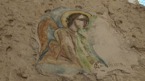 Icon in the Monastery Aladza. Varna. Bulgaria. stock footage