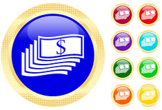 Icon of money. On shiny buttons Royalty Free Stock Image