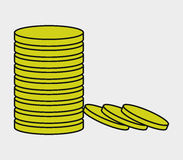Icon money coin illustrated Royalty Free Stock Photography
