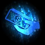 Icon of Money in the Hand on Digital Background. Royalty Free Stock Photo