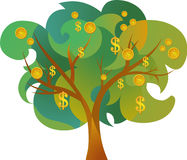 Icon of money tree. On the white background Royalty Free Stock Photo