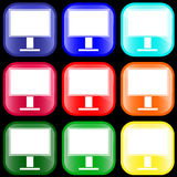 Icon of monitor. On shiny buttons Royalty Free Stock Photo