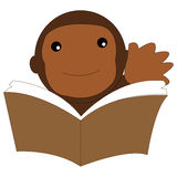 Icon monkey reading a book. Icon or illustration monkey reading a book. This icon can be used for print and web media, power points, blogs, etc Stock Photo