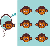 Icon of monkeys. Vector illustration depicting monkeys expressing emotions Stock Photo