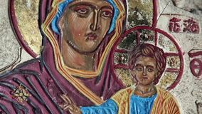 Icon of the Mother of God stock footage