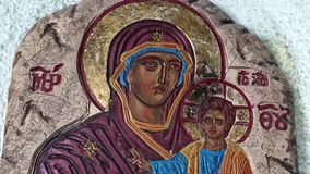 The Icon of the Mother of God stock video footage