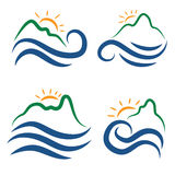 Icon of mountains,waves and sun.Vector Royalty Free Stock Images
