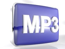 MP3 blue box icon - 3D rendering. An icon for MP3 files: a blue rounded box with a chromed border line has the write MP3 on its front side - 3D rendering Royalty Free Stock Photography