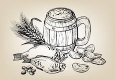 Icon with mug, beer, fish, chips, ears. In graphic style vector illustration Royalty Free Stock Images