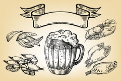 Icon with mug, beer, fish, lobster, chips and ribbon Royalty Free Stock Images