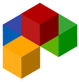 Icon of multicolor isometric cubes. Cube stack logo. Stock Photography