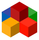 Icon of multicolor isometric cubes. Cube stack logo. Stock Images