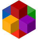Icon of multicolor isometric cubes. Cube stack logo. Royalty Free Stock Photo