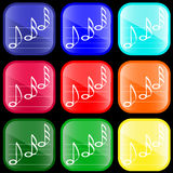 Icon of musical notes. On shiny buttons Stock Image