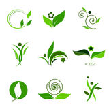 Icon nature. Set of green icons, leaves, trees, flowers and people Stock Image