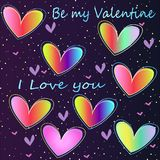 Icon-neon rainbow hearts. Bright stylish neon hearts - an idea for a greeting romantic card. Be my Valentine royalty free illustration