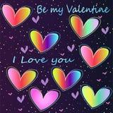 Icon-neon rainbow hearts. Bright stylish neon hearts - an idea for a greeting romantic card. Be my Valentine Stock Photos