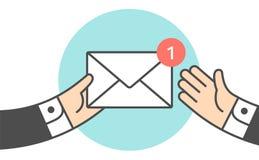 Icon of new mail envelope, two businessman. Icon of new white mail envelope. Businessman holding envelope in hand, giving envelope to businessman. Mail envelope stock illustration
