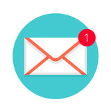 Icon of new mail envelope. White envelope with red marker Stock Photos
