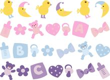 Icon for newborns. Variety of icons for newborns Stock Images