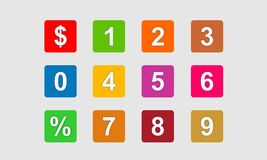 Set of 0-9 numbers. colorful icon number design. Icon number square design with various color stock illustration