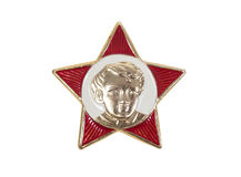 Icon Octobrist. Soviet era. five-pointed red star. portrait of little Lenin royalty free stock images