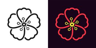 Free Icon Of Hawaiian Flower In Outline Style Royalty Free Stock Photo - 123027695