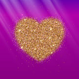 Icon Of Heart With Gold Sparkles And Glitter Stock Images