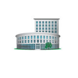 Icon office building with an entrance and a tree Royalty Free Stock Image