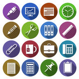 Icon of office supplies in flat design. Vector illustration. Set of round icons of office supplies in flat design with shadow effect Stock Images