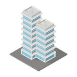 Icon ofice or apartment building. Vector isometric icon ofice or apartment building city infrastructure architecture 3d element representing low poly building Royalty Free Stock Images