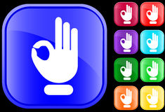 Icon of OK gesture. Icon of  OK gesture on shiny square buttons Royalty Free Stock Photography