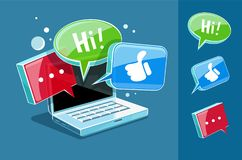 Icon for online web chat at laptop Stock Image